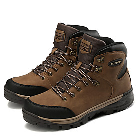 Men's Boots Work Boots Sporty / Classic / Casual Athletic Office  Career Hiking Shoes / Cycling Shoes Cowhide Warm Waterproof Non-slipping Black / Yellow / Bro