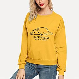 Women's Plus Size Blouse Shirt Cat Graphic Prints Letter Long Sleeve Print Round Neck Tops Basic Basic Top White Black Yellow