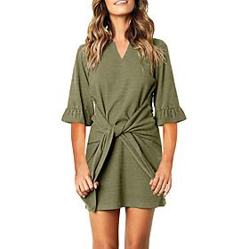 Women's A-Line Dress Short Mini Dress - Half Sleeve Solid Color Bow Summer Casual Flare Cuff Sleeve Slim 2020 Black Khaki Green Gray S M L XL