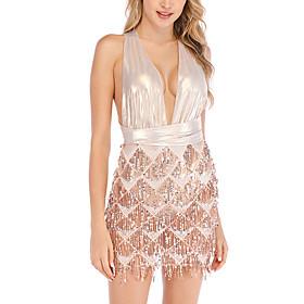 Women's A-Line Dress Short Mini Dress - Sleeveless Solid Color Backless Sequins Tassel Fringe Summer Halter Neck Sexy Party Club Slim 2020 Gold S M L XL XXL