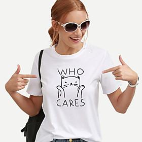 Women's T-shirt Graphic Prints Letter Print Round Neck Tops Slim 100% Cotton Basic Basic Top White Black