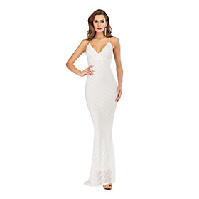 Women's A-Line Dress Maxi long Dress - Sleeveless Striped Solid Color Sequins Tassel Fringe Summer V Neck Sexy Party Slim 2020 White Black Red Green S M L XL