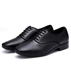 Men's Dance Shoes Latin Shoes / Ballroom Shoes / Practice Trainning Dance Shoes Heel Thick Heel Black / Silver / Black / Performance