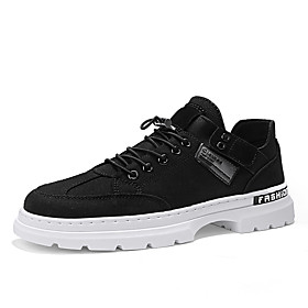 Men's Boots Work Boots Business / Classic / Casual Daily Office  Career Canvas Breathable Non-slipping Wear Proof Black / White / Black / Beige Spring / Fall