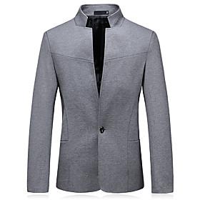Men's Blazer Solid Colored Black / Navy Blue / Gray XL / XXL / XXXL