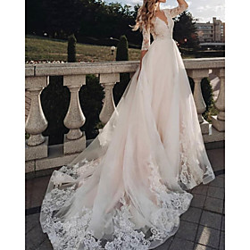 A-Line Wedding Dresses V Neck Sweep / Brush Train Tulle Half Sleeve Country with 2020