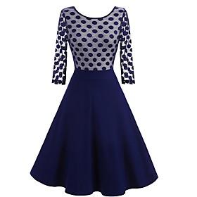 Women's A-Line Dress Knee Length Dress - 3/4 Length Sleeve Polka Dot Patchwork Summer Elegant Slim 2020 Black Blue S M L XL XXL