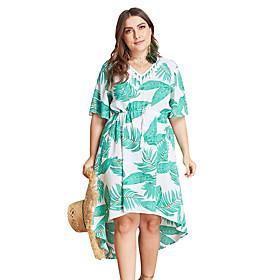 Women's A-Line Dress Knee Length Dress - Half Sleeve Print Print Summer V Neck Plus Size Casual Loose 2020 White XL XXL 3XL 4XL