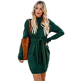 Women's A-Line Dress Knee Length Dress - Long Sleeve Solid Color Patchwork Fall Casual Loose 2020 Black Green Beige S M L XL