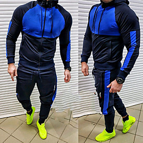 Men's 2-Piece Full Zip Tracksuit Sweatsuit Jogging Suit Casual Long Sleeve 2pcs Breathable Quick Dry Soft Fitness Gym Workout Performance Running Training Spor