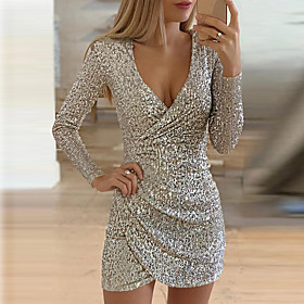 Women's A-Line Dress Short Mini Dress - Long Sleeve Solid Color Sequins Ruched Fall V Neck Sexy Party Slim 2020 Black Silver S M L XL
