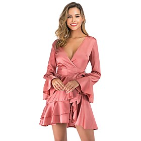 Women's A-Line Dress Short Mini Dress - Long Sleeve Solid Color Backless Spring Fall V Neck Sexy Party Club 2020 Blushing Pink S M L XL XXL