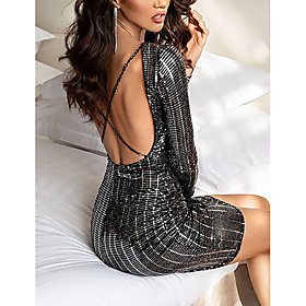 Women's A-Line Dress Short Mini Dress - Long Sleeve Solid Color Sequins Spring Fall Sexy Holiday Slim 2020 Black S M L XL