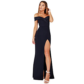 Women's A-Line Dress Maxi long Dress - Short Sleeve Solid Color Patchwork Zipper Winter V Neck Sexy Party Slim 2020 Black S M L XL