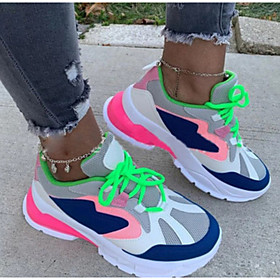 Women's Trainers / Athletic Shoes Wedge Heel Round Toe Sporty Daily Color Block Cotton Walking Shoes White / Rainbow
