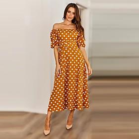 Women's A-Line Dress Midi Dress - Half Sleeve Polka Dot Split Print Summer Off Shoulder Casual Lantern Sleeve 2020 Black Orange S M L XL XXL
