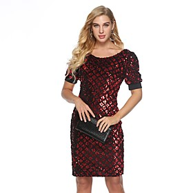 Women's A-Line Dress Knee Length Dress - Half Sleeve Solid Color Sequins Summer Sexy Party Club 2020 Wine S M L XL XXL