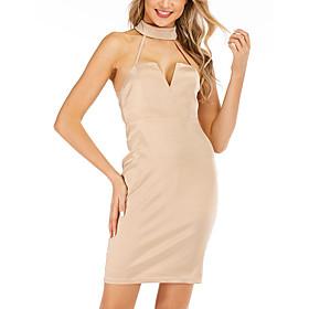 Women's A-Line Dress Short Mini Dress - Sleeveless Solid Color Backless Summer Strapless Sexy Party Club 2020 Khaki S M L XL XXL