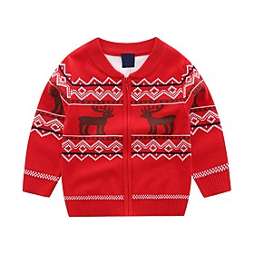 Kids Boys' Basic Blue Red Animal Print Long Sleeve Sweater  Cardigan Red