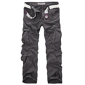 Men's Basic Daily Tactical Cargo Pants Solid Colored Classic Outdoor Black Khaki Gray 30 31 32