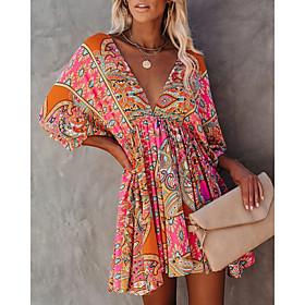 Women's A-Line Dress Maxi long Dress - Short Sleeve Floral Backless Print Summer V Neck Hot Sexy Batwing Sleeve Slim 2020 Red S M L XL XXL