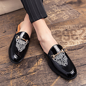 Men's Loafers  Slip-Ons Casual Daily PU Breathable Black / Silver / Black Summer