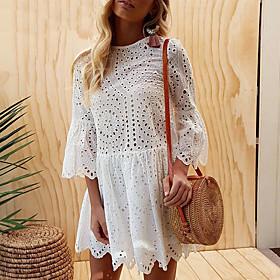 Women's A-Line Dress Short Mini Dress - Half Sleeve Solid Color Summer Elegant Party Slim 2020 White Blushing Pink Light Blue S M L