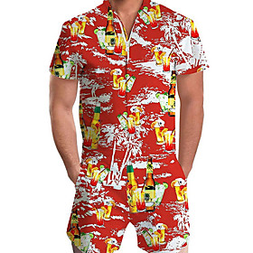 Men's Basic Red Romper Geometric Print