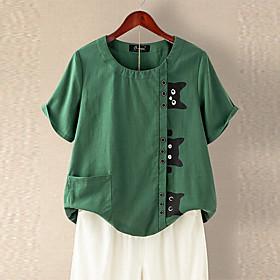 Women's T-shirt Cat Button Print Round Neck Tops Cotton Basic Basic Top Blue Green