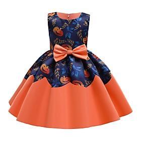 Kids Girls' Basic Blue Color Block Halloween Patchwork Print Sleeveless Above Knee Dress Orange
