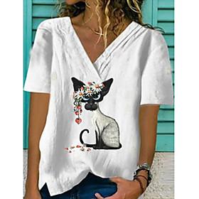 Women's Blouse Shirt Animal Print V Neck Tops Basic Basic Top White