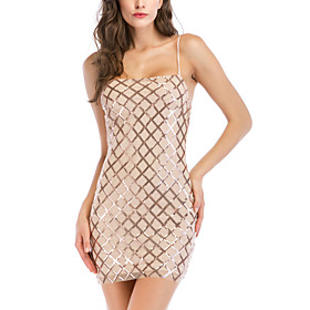 Women's A-Line Dress Short Mini Dress - Sleeveless Solid Color Backless Sequins Embroidered Summer Square Neck V Neck Sexy Party Club 2020 Gold S M L XL