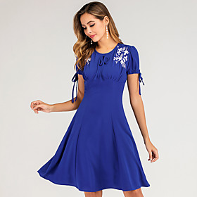 Women's Swing Dress Knee Length Dress - Short Sleeve Solid Color Embroidered Zipper Summer Elegant Slim 2020 Blue S M L XL XXL