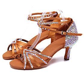 Women's Latin Shoes Heel Slim High Heel PU Leather Rhinestone Buckle Brown
