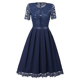 Women's A-Line Dress Knee Length Dress - Short Sleeve Solid Color Lace Patchwork Summer Work Slim 2020 Black Purple Navy Blue S M L XL XXL