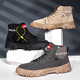 Men's Boots Work Boots Casual Daily Walking Shoes PU Breathable Non-slipping Wear Proof Black / Khaki / Gray Fall