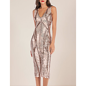 Women's A-Line Dress Midi Dress - Sleeveless Solid Color Mesh Split Zipper Summer V Neck Sexy Party Slim 2020 Black Gold S M L XL