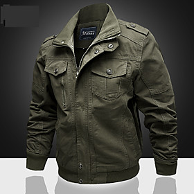 Men's Stand Collar Winter Jacket Regular Solid Colored Daily Long Sleeve Cotton Black Army Green Khaki M L XL / Sports