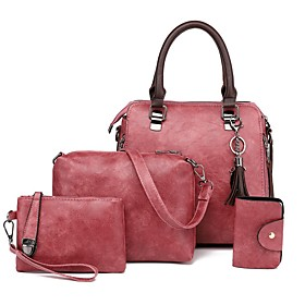Women's Bags PU Leather Bag Set 4 Pieces Purse Set Zipper for Daily / Holiday Black / Red / Blushing Pink / Dark Gray / Bag Sets