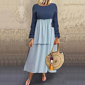 Women's Shift Dress Maxi long Dress - Long Sleeve Solid Color Patchwork Fall Casual Cotton Loose 2020 Navy Blue L XL XXL 3XL 4XL 5XL