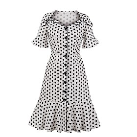 Women's A-Line Dress Knee Length Dress - Short Sleeve Polka Dot Fall Casual Cotton 2020 White S M L XL XXL