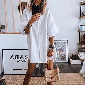 Women's Shirt Dress Knee Length Dress - 3/4 Length Sleeve Solid Color Patchwork Button Fall Shirt Collar Casual Flare Cuff Sleeve Cotton Oversized 2020 White B