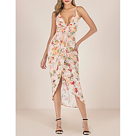 Women's A-Line Dress Midi Dress - Sleeveless Floral Backless Sequins Embroidered Summer V Neck Sexy Party Club 2020 Rainbow S M L XL