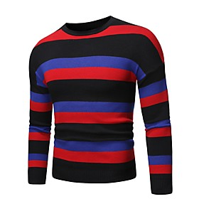 Men's Leisure Classic Knitted Striped Pullover Long Sleeve Sweater Cardigans Crew Neck Fall Winter White Black Dark Gray