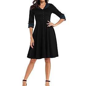 Women's A-Line Dress Knee Length Dress - Half Sleeve Solid Color Spring Summer V Neck Formal Party Slim 2020 Black S M L XL XXL