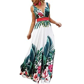 Women's A-Line Dress Maxi long Dress - Sleeveless Floral Summer V Neck Elegant 2020 Green S M L XL XXL 3XL