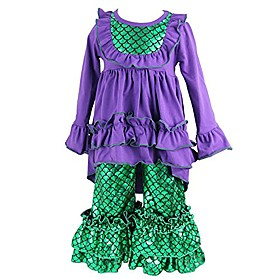 girls clothes outfit kids ruffle shirts dress boutique bell pants set small purple green