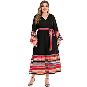 Women's A-Line Dress Maxi long Dress - Long Sleeve Print Patchwork Print Summer V Neck Casual Flare Cuff Sleeve 2020 Black L XL XXL 3XL 4XL