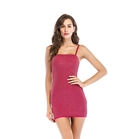 Women's A-Line Dress Short Mini Dress - Sleeveless Solid Color Backless Summer Square Neck Sexy Party Club 2020 Red Gold S M L XL