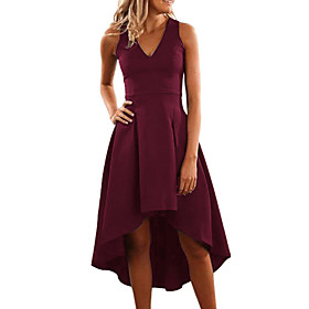 Women's A-Line Dress Midi Dress - Sleeveless Solid Color Patchwork Zipper Winter V Neck Sexy Party Slim 2020 Red S M L XL